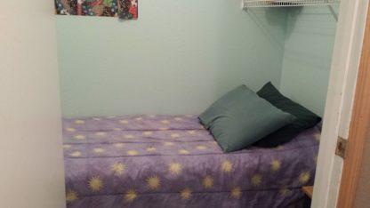 Aframe basement laundry single bed
